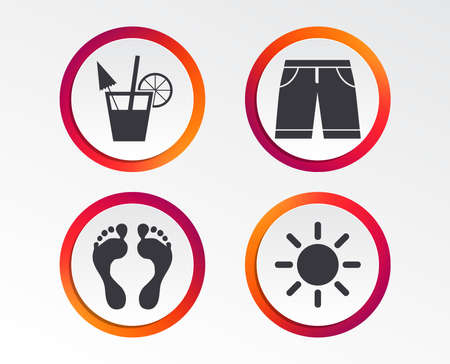 Beach holidays icons. Cocktail, human footprints and swimming trunks signs. Summer sun symbol. Infographic design buttons. Circle templates. Vector