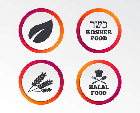 Natural food icons. Halal and Kosher signs. Gluten free. Chief hat with fork and spoon symbol. Infographic design buttons. Circle templates. Vector