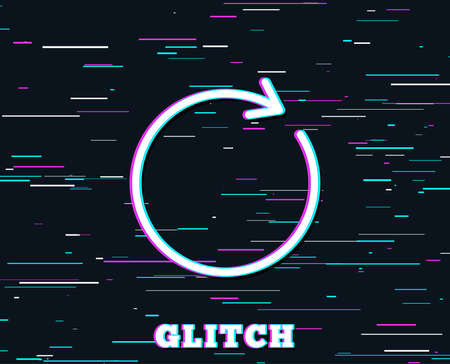 Glitch effect. Refresh line icon. Rotation arrow sign. Reset or Reload symbol. Background with colored lines. Vector