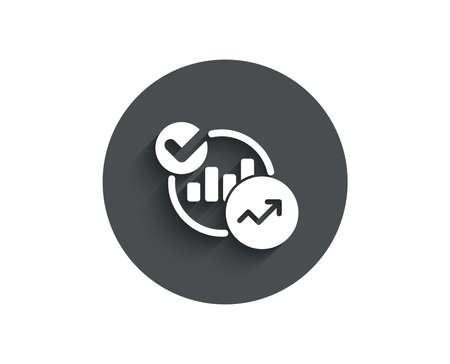 Charts, Statistics simple icon. Report graph or Sales growth sign. Analytics data symbol. Circle flat button with shadow. Vector Illustration