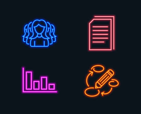 Neon lights. Set of Histogram, Copy files and Women group icons. Keywords sign. Economic trend, Copying documents, Lady service. Marketing strategy. Glowing graphic designs. Vector Ilustração