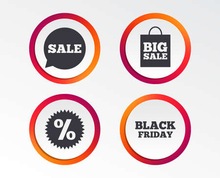 Sale speech bubble icon. Discount star symbol. Black friday sign. Big sale shopping bag. Infographic design buttons. Circle templates. Vector