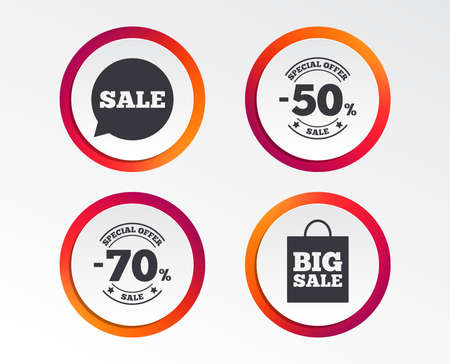 Sale speech bubble icon. 50% and 70% percent discount symbols. Big sale shopping bag sign. Infographic design buttons. Circle templates. Vector