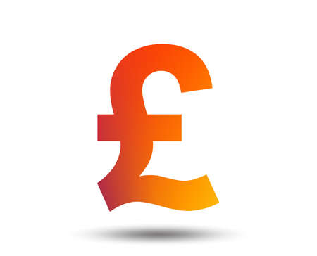 Pound sign icon. GBP currency symbol. Money label. Blurred gradient design element. Vivid graphic flat icon. Vector