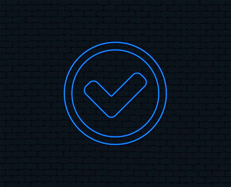 Neon light. Check mark sign icon. Yes circle symbol. Confirm approved. Glowing graphic design. Brick wall. Vector