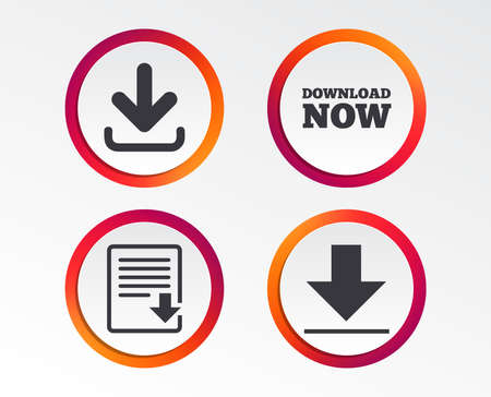 Download now icon. Upload file document symbol. Receive data from a remote storage signs. Infographic design buttons. Circle templates. Vector Çizim