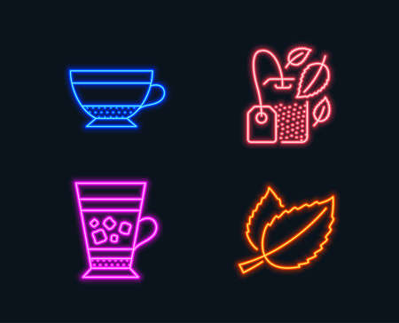 Neon lights. Set of Mint bag, Dry cappuccino and Frappe icons. Mint leaves sign. Mentha tea, Beverage mug, Cold drink. Mentha herbal.  Glowing graphic designs. Vector
