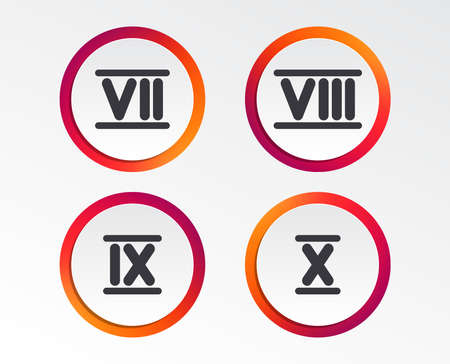 Roman numeral icons. 7, 8, 9 and 10 digit characters. Ancient Rome numeric system. Infographic design buttons. Circle templates. Vector