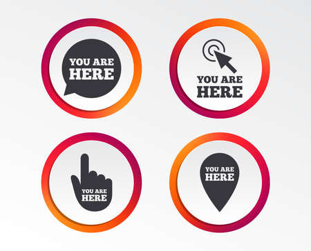 You are here icons. Info speech bubble symbol. Map pointer with your location sign. Hand cursor. Infographic design buttons. Circle templates. Vector