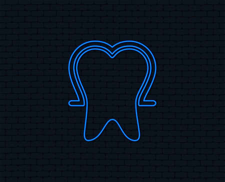 Neon light. Tooth enamel protection sign icon. Dental toothpaste care symbol. Healthy teeth. Glowing graphic design. Brick wall. Vector Illustration