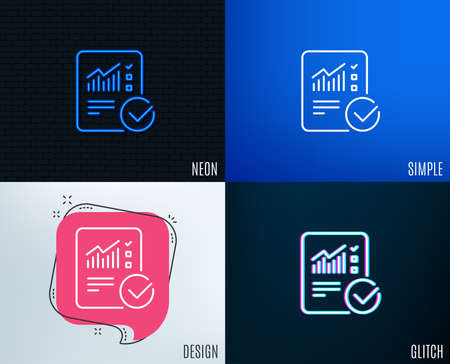 Glitch, Neon effect. Checklist document line icon. Analysis Chart or Sales growth report sign. Statistics data symbol. Trendy flat geometric designs. Vector