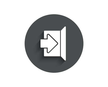 Exit simple icon. Open door sign. Entrance symbol with arrow. Circle flat button with shadow. Vector