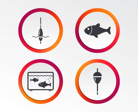 Fishing icons. Fish with fishermen hook sign. Float bobber symbol. Aquarium icon. Infographic design buttons. Circle templates. Vector Illustration