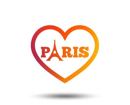 Eiffel tower icon. Paris symbol. Heart sign. Blurred gradient design element. Vivid graphic flat icon. Vector