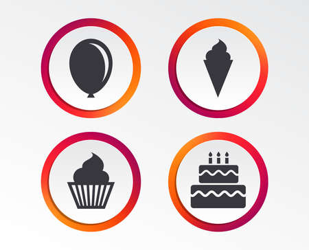 Birthday party icons. Cake with ice cream signs. Air balloon symbol. Infographic design buttons. Circle templates. Vector