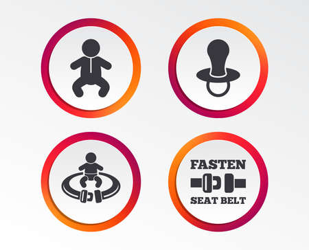 Baby infants icons. Toddler boy with diapers symbol. Fasten seat belt signs. Child pacifier and pram stroller. Infographic design buttons. Circle templates. Vector