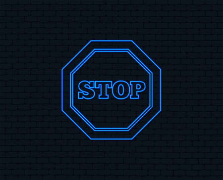 Neon light. Traffic stop sign icon. Caution symbol. Glowing graphic design. Brick wall. Vector