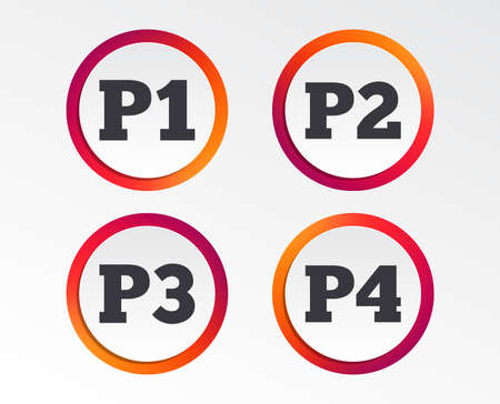 Car parking icons. First, second, third and four floor signs. P1, P2, P3 and P4 symbols. Infographic design buttons. Circle templates. Vector