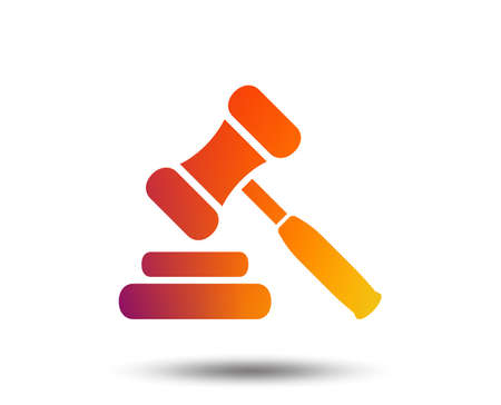 Auction hammer icon. Law judge gavel symbol. Blurred gradient design element. Vivid graphic flat icon. Vector