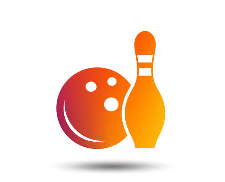 Bowling game sign icon. Ball with pin skittle symbol. Blurred gradient design element. Vivid graphic flat icon. Vector