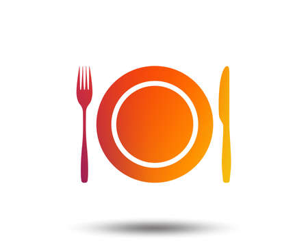 Plate dish with fork and knife. Eat sign icon. Cutlery etiquette rules symbol. Blurred gradient design element. Vivid graphic flat icon. Vector