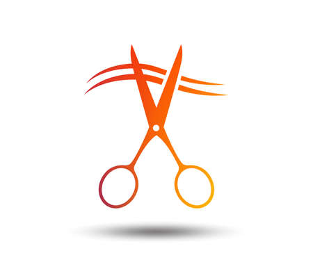Scissors cut hair sign icon. Hairdresser or barbershop symbol. Blurred gradient design element. Vivid graphic flat icon. Vector