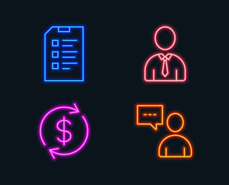 Neon lights. Set of Human, Usd exchange and Checklist icons. Users chat sign. Person profile, Currency rate, Data list. Communication concept.  Glowing graphic designs. Vector Stock Illustratie