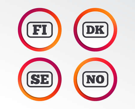 Language icons. FI, DK, SE and NO translation symbols. Finland, Denmark, Sweden and Norwegian languages. Infographic design buttons. Circle templates. Vector Иллюстрация