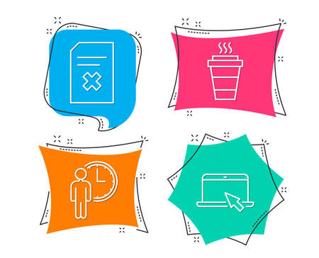 Set of Delete file, Waiting and Takeaway icons. Portable computer sign. Remove document, Service time, Takeout coffee. Notebook device.  Flat geometric colored tags. Vivid banners. Vector