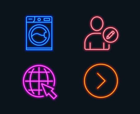 Neon lights. Set of Edit user, Internet and Washing machine icons. Forward sign. Profile data, World web, Laundry service. Next direction.  Glowing graphic designs. Vector Stock Illustratie