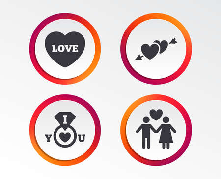Valentine day love icons. I love you ring symbol. Couple lovers sign. Infographic design buttons. Circle templates. Vector Illustration