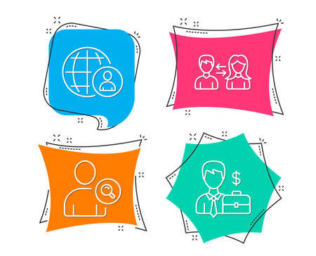 Set of International recruitment, Find user and People communication icons. Businessman case sign. World business, Search person, People talking. Human resources. Flat geometric colored tags. Vector Illustration