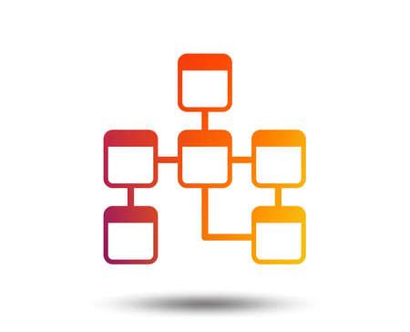 Database sign icon on Relational database schema symbol. Blurred gradient design element.