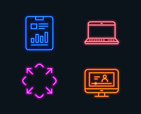 Neon lights Set of Notebook, Maximize and Report document icons.