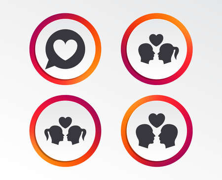 Couple love icon. Lesbian and Gay lovers signs. Romantic homosexual relationships. Speech bubble with heart symbol. Infographic design buttons. Circle templates. Vector Illustration