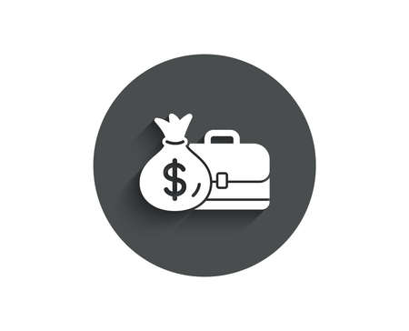 Business case simple icon. Portfolio and Salary symbol. Diplomat with Money bag sign. Circle flat button with shadow. Vector