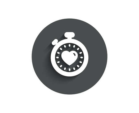 Heart in Timer simple icon on  Circle flat button with shadow.