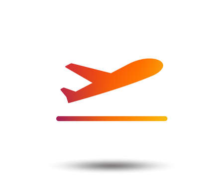 Plane takeoff icon. Airplane transport symbol. Blurred gradient design element. Vivid graphic flat icon. Vector illustration.