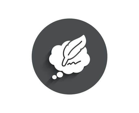 Copy writing speech bubble simple icon of Feather sign.