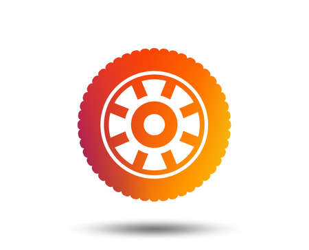 Car wheel sign icon on Circular transport component symbol.
