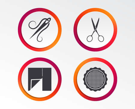 Textile cloth piece icon. Scissors hairdresser symbol. Needle with thread. Tailor symbol. Canvas for embroidery. Infographic design buttons. Circle templates. Vector