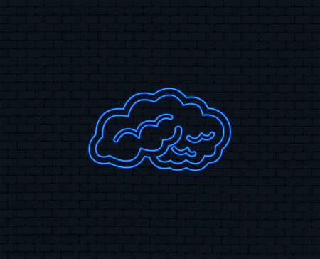 Brain sign icon for Human intelligent smart mind. Glowing graphic design. Çizim