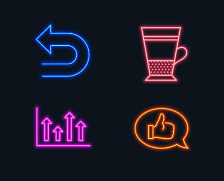 Neon lights. Set of Upper arrows, Undo and Double latte icons. Feedback sign. Growth infochart, Left turn, Tea cup. Speech bubble.  Glowing graphic designs. Vector 일러스트