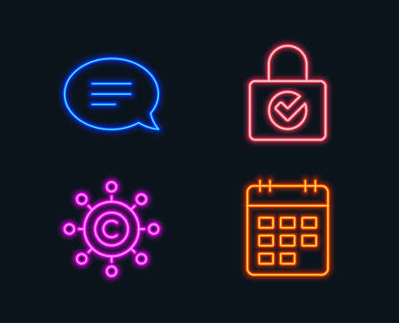Set of Chat, Copy writing network and Password encryption icons.