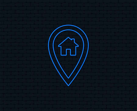 Neon light. Map pointer house sign icon. Home location marker symbol. Glowing graphic design. Brick wall. Vector 版權商用圖片 - 98278527