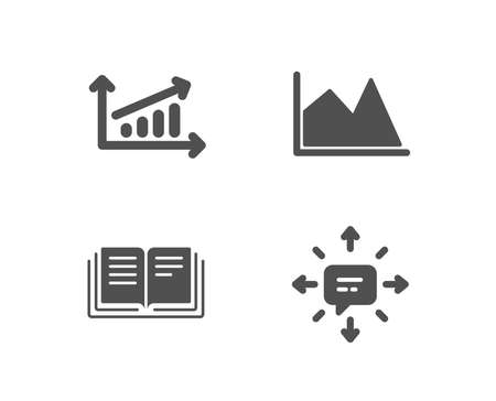 Set of Education, Chart and Line chart icons with Quality design elements.