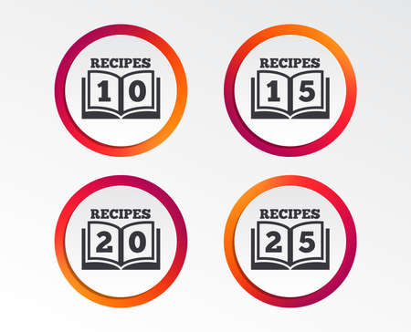Cookbook icons. 10, 15, 20 and 25 recipes book sign symbols. Infographic design buttons. Circle templates. Vector Stock Illustratie