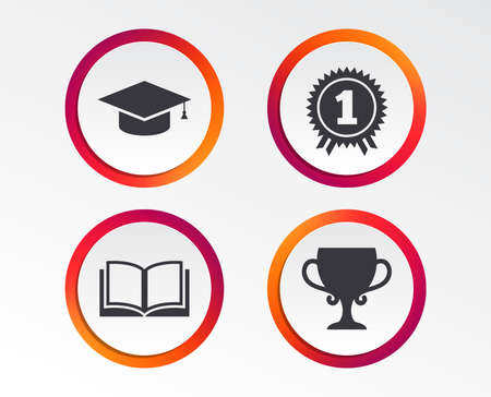 Graduation icons. Graduation student cap sign. Education book symbol. First place award. Winners cup. Infographic design buttons. Circle templates. Vector