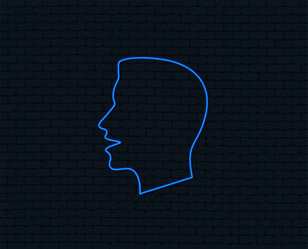 Neon light. Talk or speak icon. Loud noise symbol. Human talking sign. Glowing graphic design. Brick wall. Vector