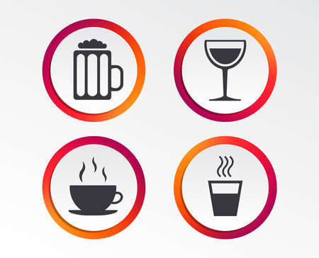 Drinks icons. Coffee cup and glass of beer symbols. Wine glass sign. Infographic design buttons. Circle templates. Vector